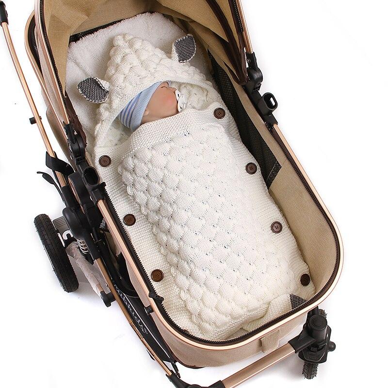 Baby Sleeping Bag Envelope Winter Kid Sleepsack Newborn Swaddle Sleep Bag Footmuff Stroller Knitted Sleep Sack