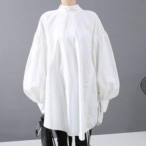 Image 2 - [EAM] blusa de talla grande con cordón largo en la espalda para mujer, camisa holgada de manga larga con cuello de satélite, a la moda, para primavera y otoño, 2020, 1N242
