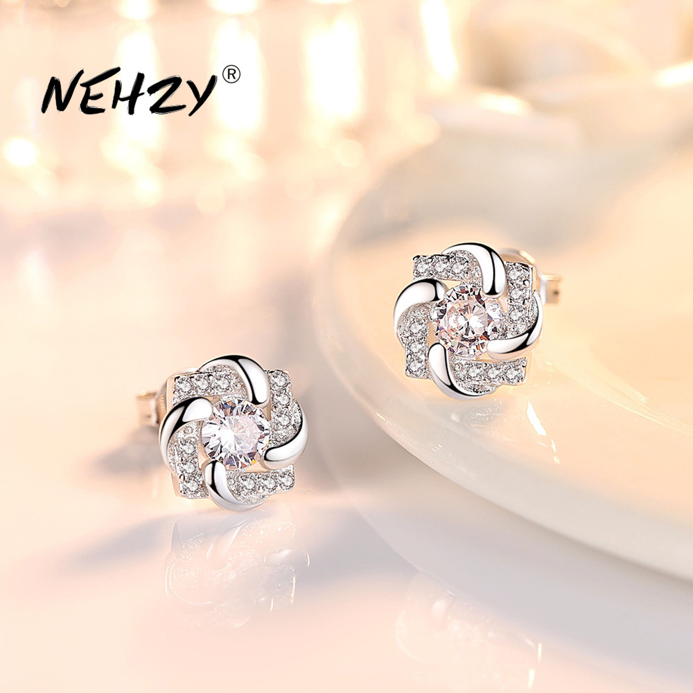 NEHZY 925 Sterling Silver Stud Earrings High Quality Woman Fashion Jewelry New Lucky Clover Crystal Zircon Hot Sale Earrings
