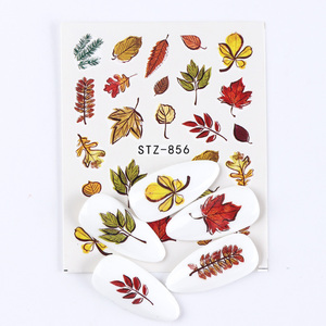 Image 5 - 1pcs Fall Leaves Nail Art Stickers Gold Yellow Maple Leaf Water Decals Sliders Foil Autumn Design For Nail Manicure TRSTZ856 859