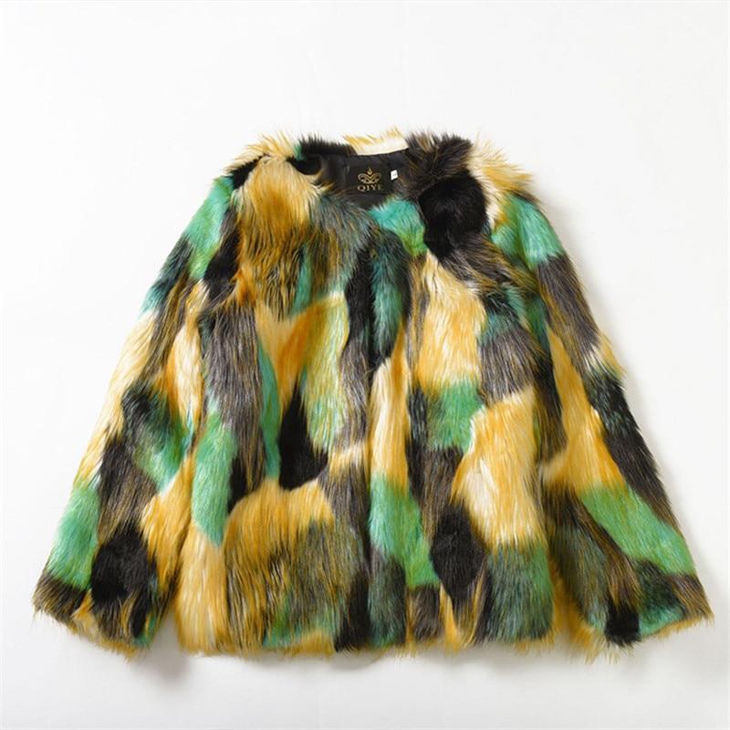 Focal20 Elegant Furry Fur Coat Women Fluffy Warm Hit Color Long Sleeve Female Outerwear Autumn Winter Coat Jacket Hairy Overcoat