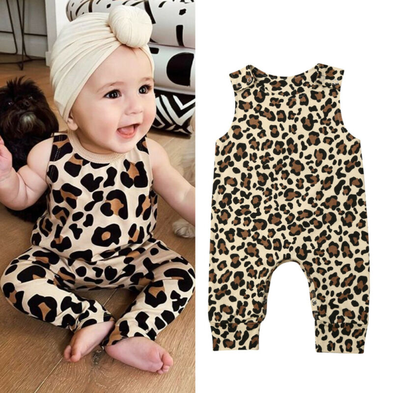 >Pudcoco Stylish Newborn <font><b>Baby</b></font> <font><b>Girl</b></font> Boy Leopard Sleeveless or Long Sleeve Romper Top <font><b>Clothes</b></font> For 0-24Months