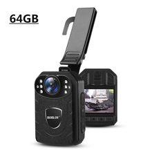 BOBLOV 64GB kamera policyjna HD1296P wideorejestrator poręczna kamera noszona na ciele 2 Cal ekran bezpieczeństwo Mini Comcorders camara policial