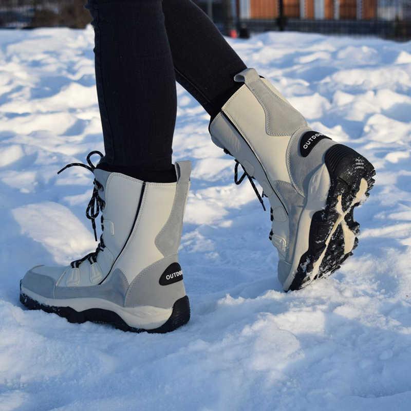 2019 noir Beige femmes bottes de neige chaussures d'hiver dames bottines imperméable plate-forme en peluche Botas Femininas taille 36-42