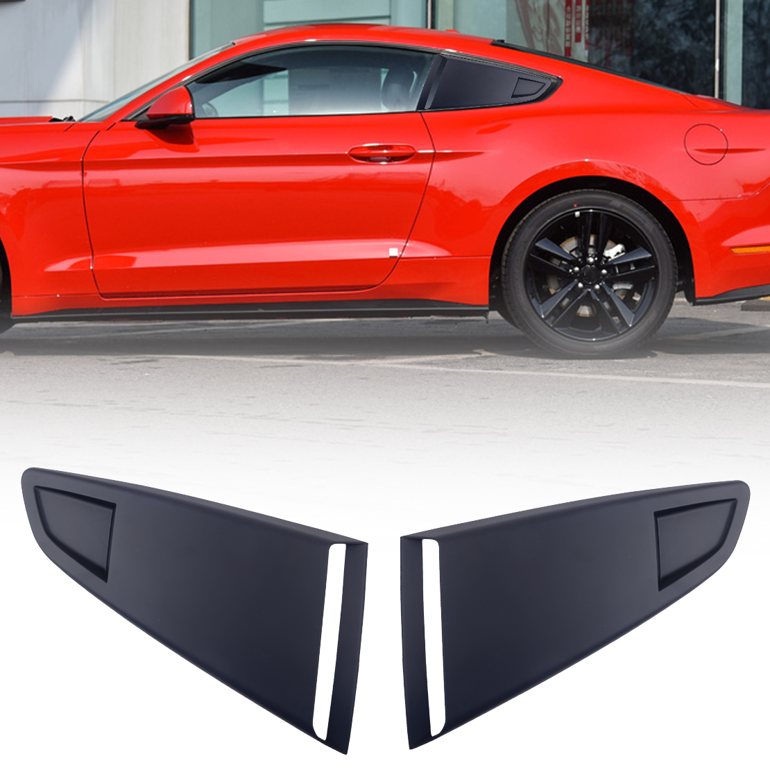 CITALL 1Pair Fit For <font><b>Ford</b></font> <font><b>Mustang</b></font> <font><b>2015</b></font> 2016 2017 2018 Black Plastic Car Window Quarter Rear Louver Side Vent Scoop Cover image
