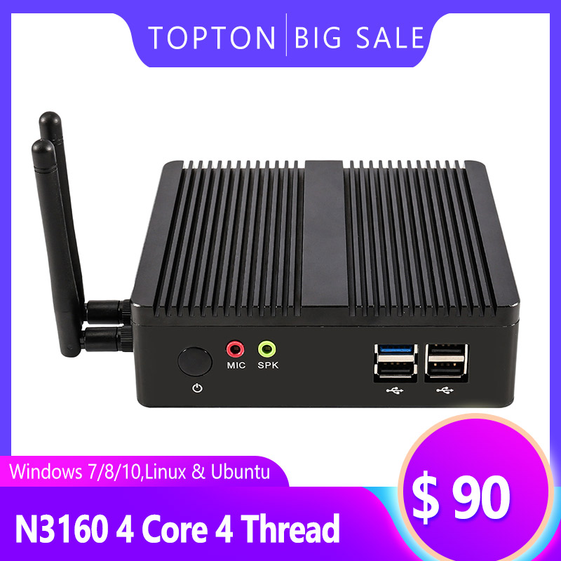 TOPTON Fanless Mini PC Celeron J1900 Processor Quad Core 2.0 GHz 8GB RAM 128GB SSD Wireless Mini PC Linux Windows 7/10 Pro  WiFi