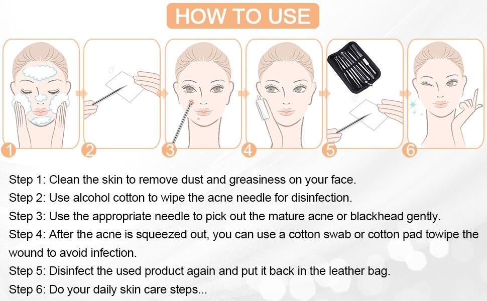 rosto ferramentas cuidados com a pele agulhas facial poros mais limpo