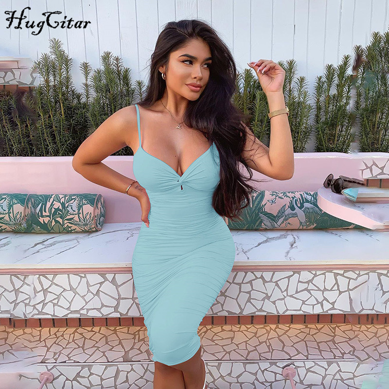 Hugcitar 2020 sleeveless V-neck sexy bodycon ruched midi dress summer women fashion streetwear slim solid pure outfits sundress