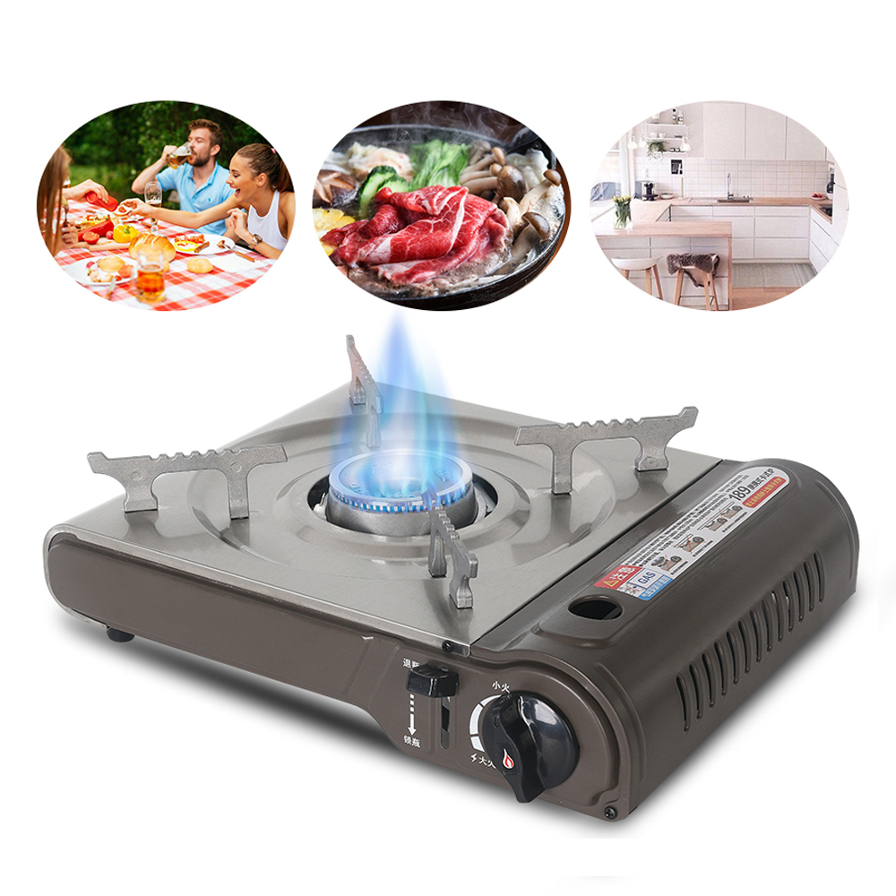 ITOP Portable Cassette Gas Stove Outdoor Camping Stove Cookware Grill Picnic Gas Cooker Stove Kitchen Equipment Silver IT-CLS