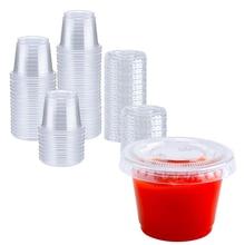 1 oz 100 Sets Plastic Disposable Jello Shot Cups with Lids, Souffle Portion/Sauce Salad Dressing, Condiment Cups 30ml