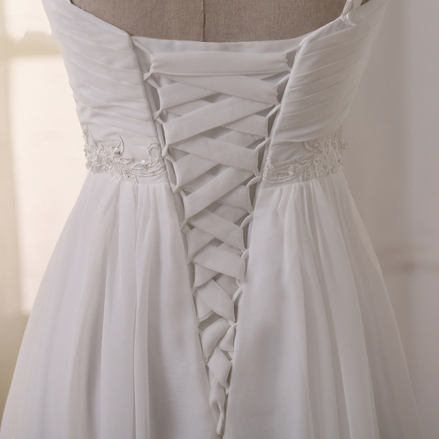 Jiayigong Beach Wedding Dress vestido de noiva In Stock Plus Size Spaghetti Straps Beading Chiffon Wedding Gowns Bridal Dresses 4