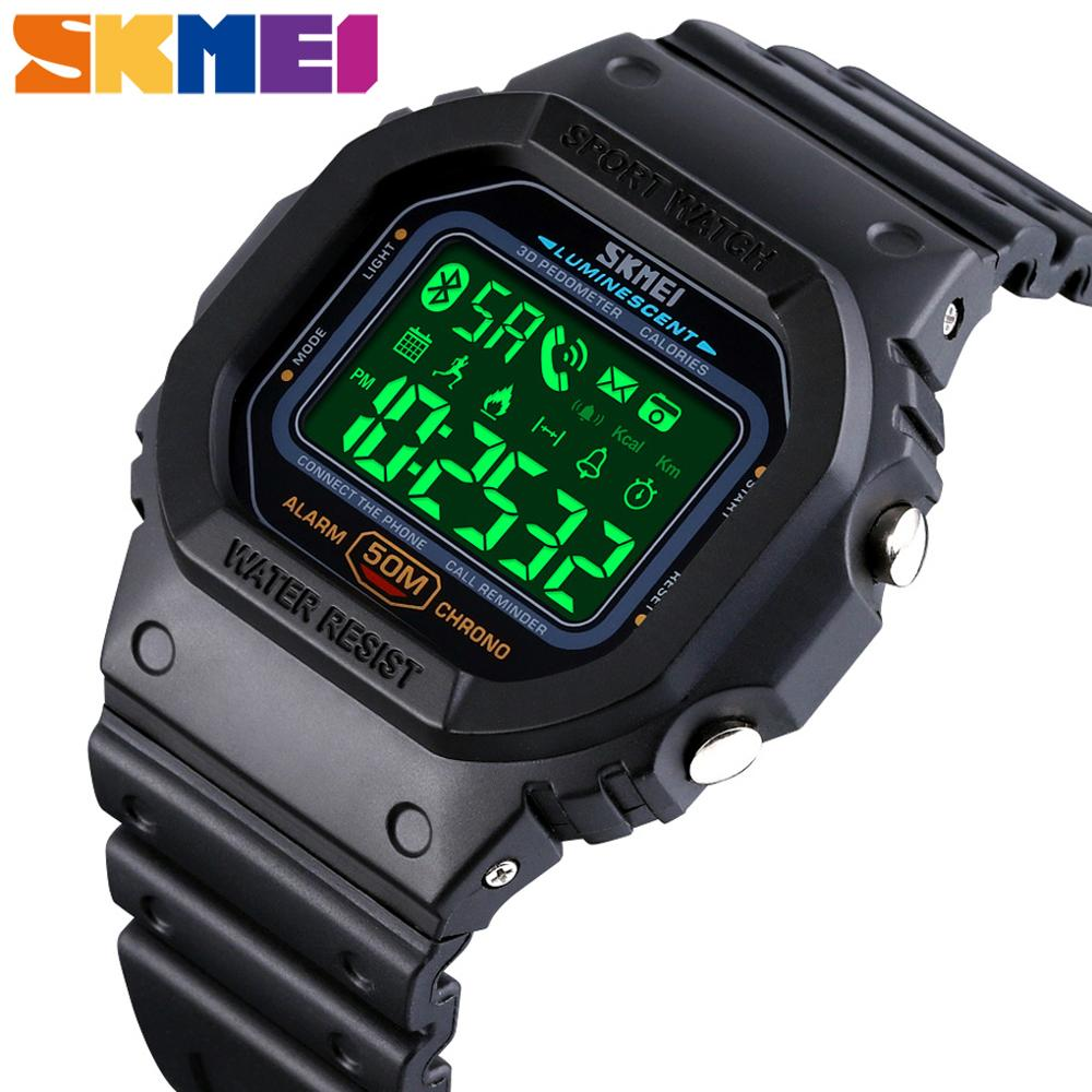 SKMEI Smart Bluetooth Digital Watch Men fashion Sport Waterproof Calorie Fitness Clock Watches Man Wristwatch reloj intelligent