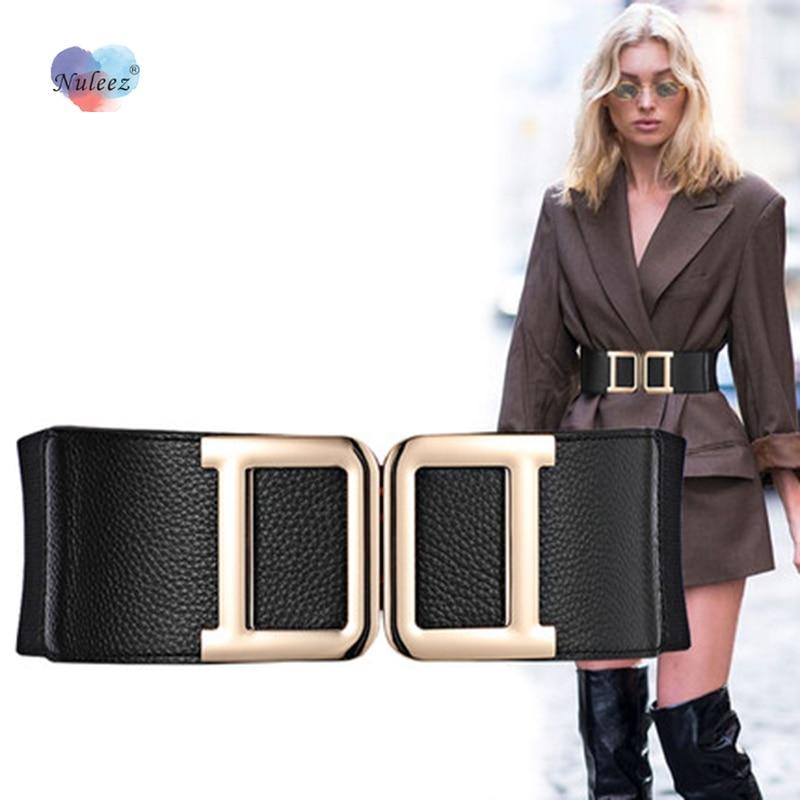 Nuleez Cummerbunds Women Double D Letter Fashion Dress Accessory Zinc Alloy Button Decoration