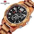 Многофункциональные мужские деревянные часы деревянные Зебра красные сандаловые светящиеся Роскошные кварцевые деловые наручные часы 24 ч...