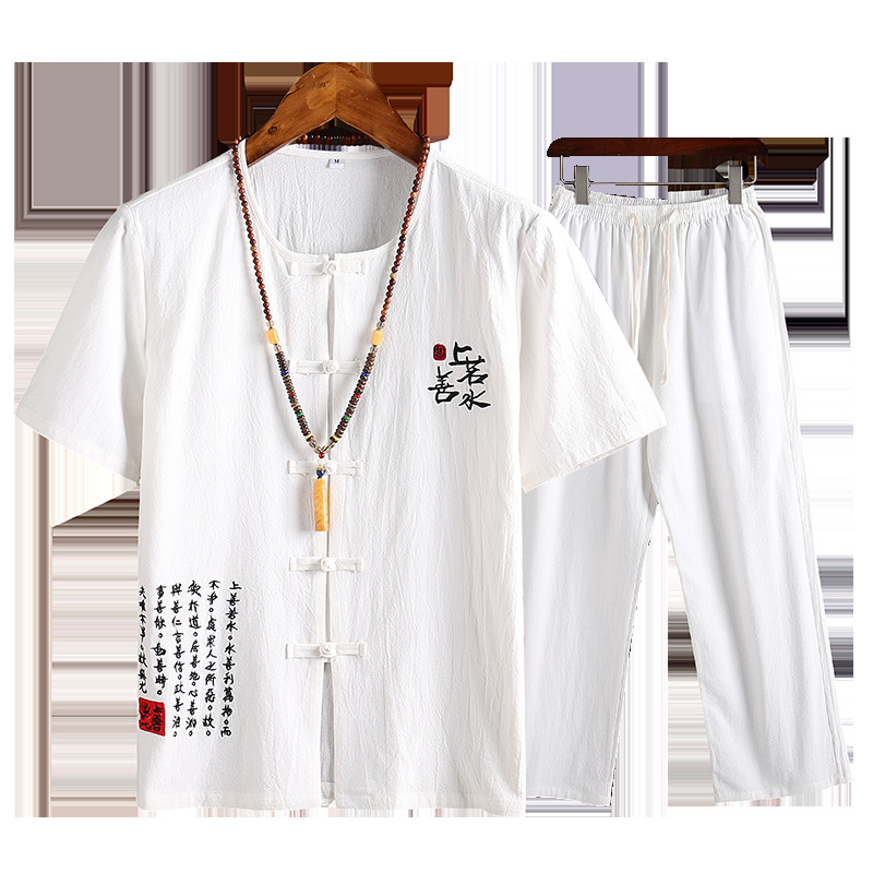 Buddha System Men's Wear Short Sleeve Middle Guofeng Embroidery Cotton And Linen Suit Male Zen Clothing Tea Clothing Tang Suit