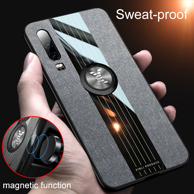 Magnetic Metal Car Holder <font><b>Case</b></font> For <font><b>Huawei</b></font> P30 P20 Mate 20 10 Lite Honor 20 8X Y5 Y6 <font><b>Y7</b></font> Pro Y9 P Smart <font><b>2019</b></font> Nova5i 3i Cloth <font><b>Case</b></font> image