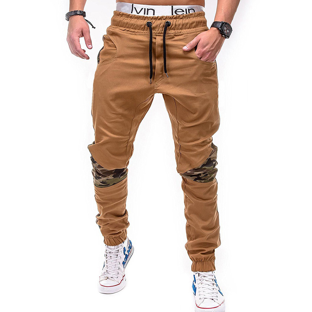 2018 New Style Men Fashion Camouflage Joint Solid Color Cotton Beam Leg Casual Pants Skinny Pants