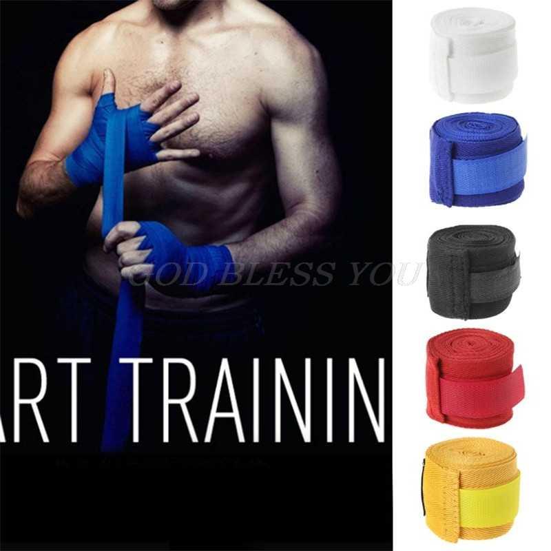 2,5 m de algodón vendaje de muñeca de boxeo vendaje de mano de combate de boxeo protección Kickboxing Muay Thai guantes de entrenamiento