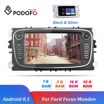 Podofo 2 Din Android 8.1 Car Radio Car Multimedia player 7'' GPS WIFI Bluetooth Audio For Ford/Focus/S-Max/Mondeo 9/Galaxy C-Max image