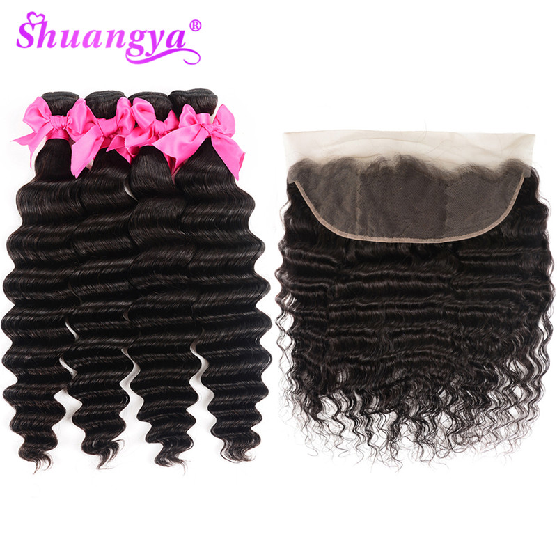 He3546638e63f45369d5200cfbab06537O Shuangya Hair Loose Deep Wave Bundles With Frontal Brazilian Hair Weave Bundles With Closure Remy Hair Frontal With Bundles