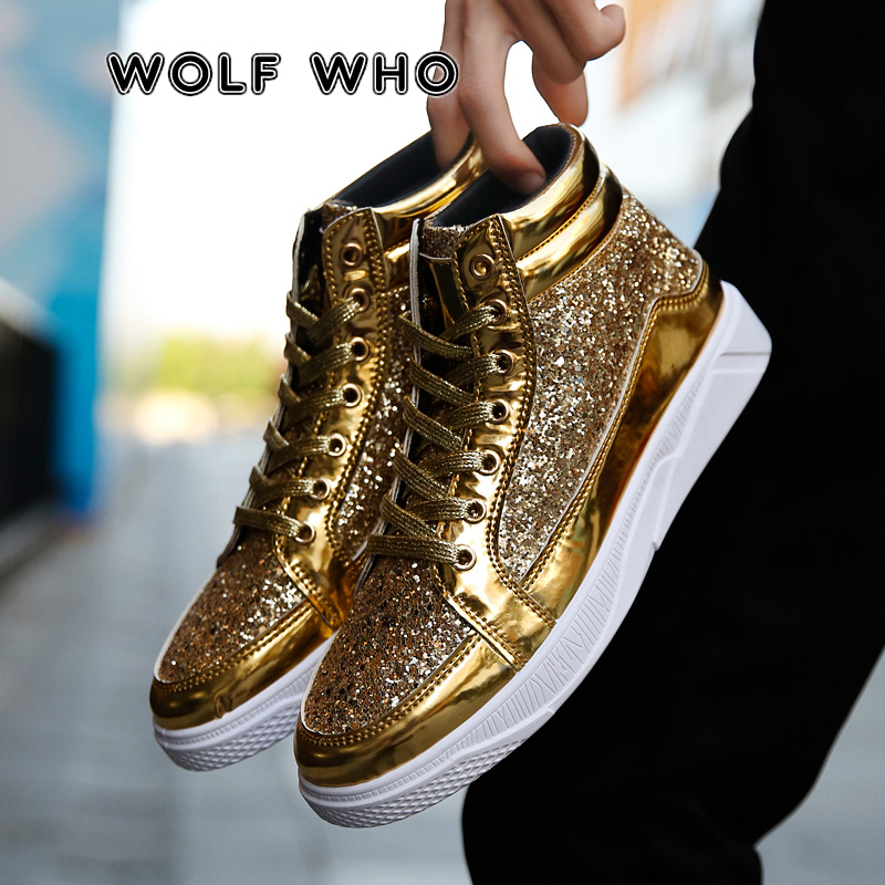WOLF WHO 2019 Men PU Leather Casual Shoes Hip Hop Gold Fashion Sneakers Male Silver Microfiber High Tops Sequin Male Shoes X-058