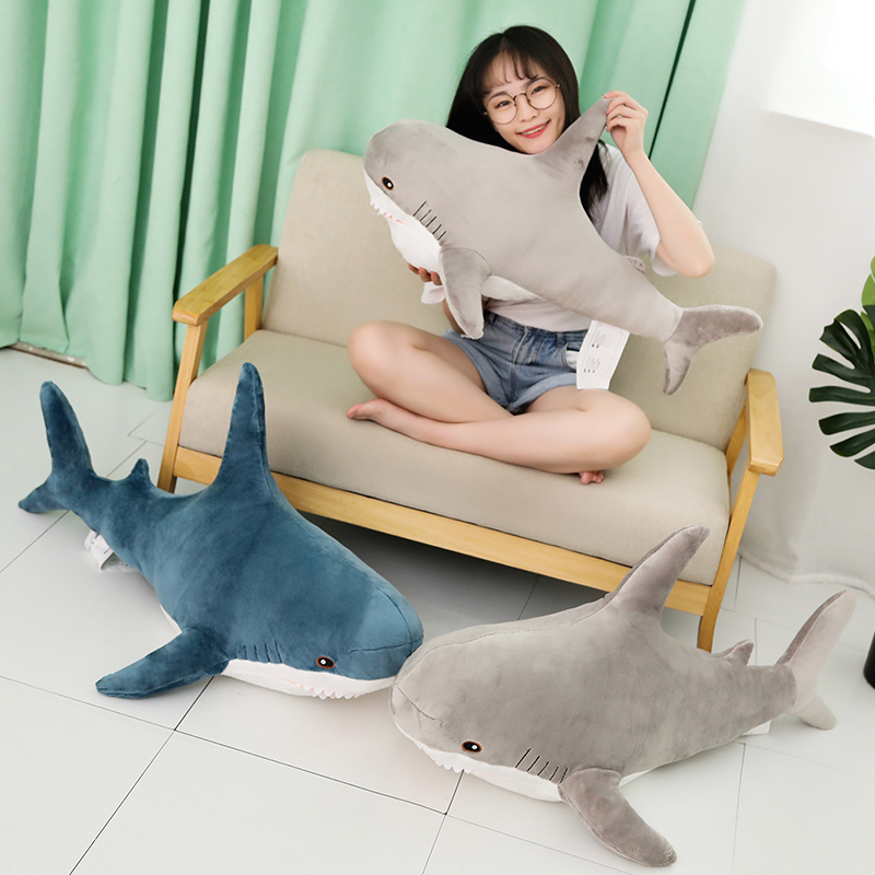 1pc 80-140cm Big Size Shark Plush Toy Soft Stuffed Speelgoed Animal Reading Pillow For Birthday Gifts Cushion Gift For Children