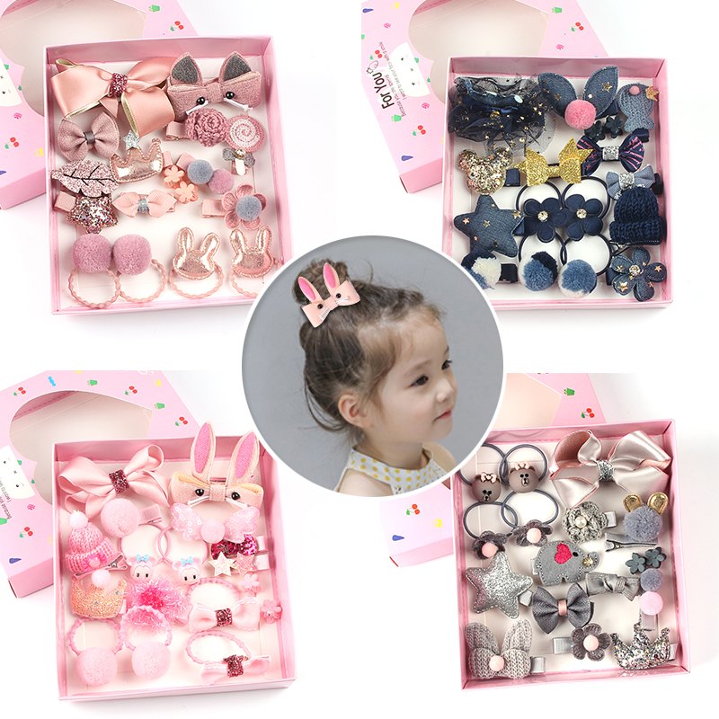 Cute Children Hair Clips 18Pcs/Set 7 Color Girls Bow Headdress Hair Accessories Baby Elasticity Hair Ring Headband Jewelry Gift
