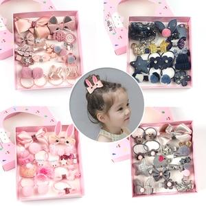 Cute Children Hair Clips 18Pcs/Set 7 Color Girls Bow Headdress Hair Accessories Baby Elasticity Hair Ring Headband Jewelry Gift