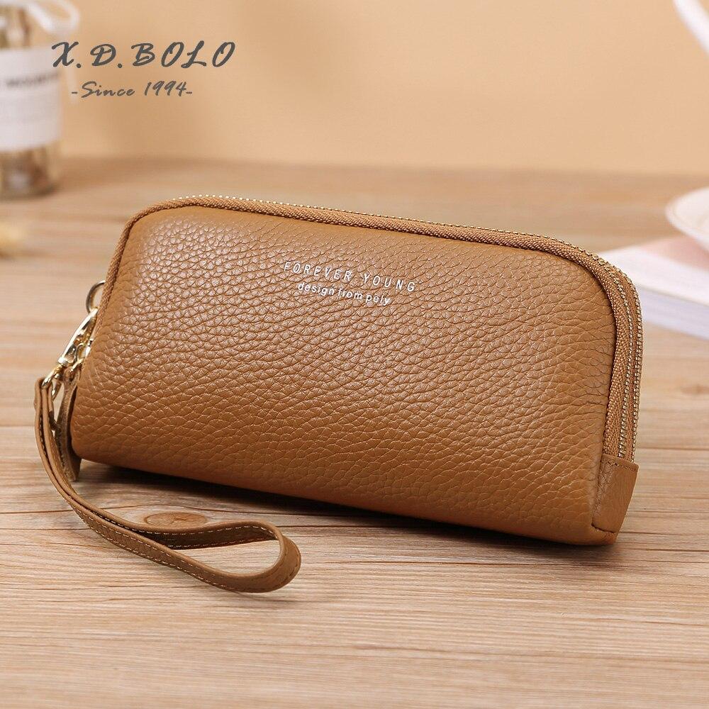 X. D. BOLO portefeuille femmes 2019 Lady Long femmes portefeuilles argent sacs à main pli en cuir véritable femme porte-monnaie porte-carte