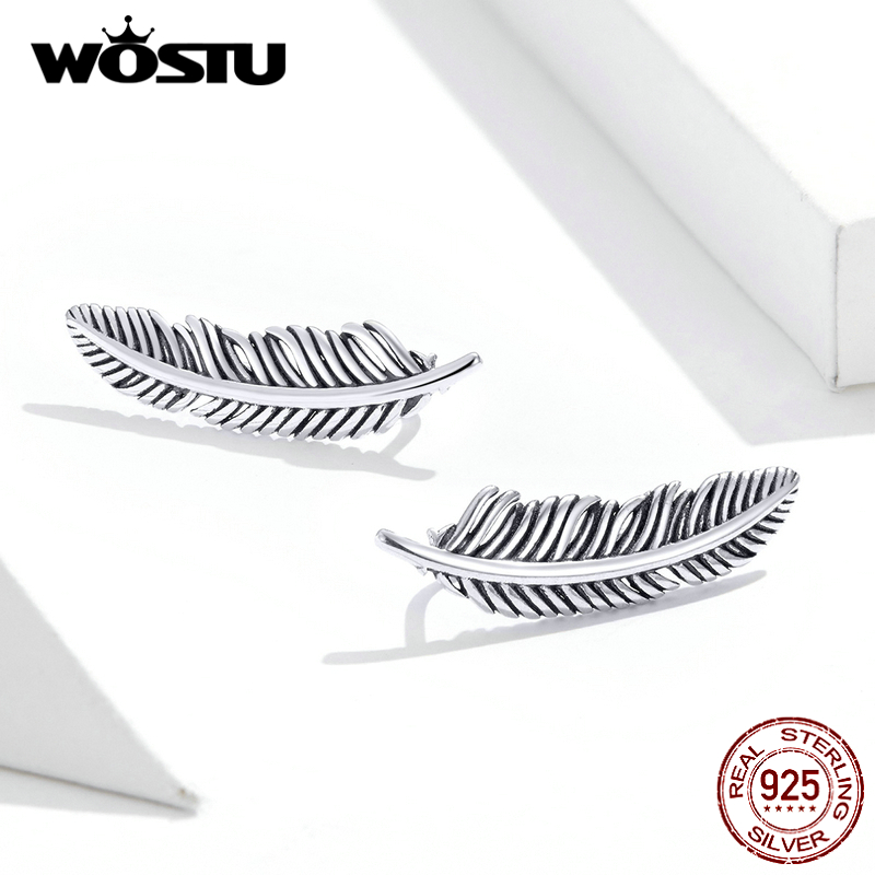 WOSTU Vintage Feather Stud Earrings 925 Sterling Silver Fashion Small Earrings For Women Wedding Authentic S925 Jewelry FIE865