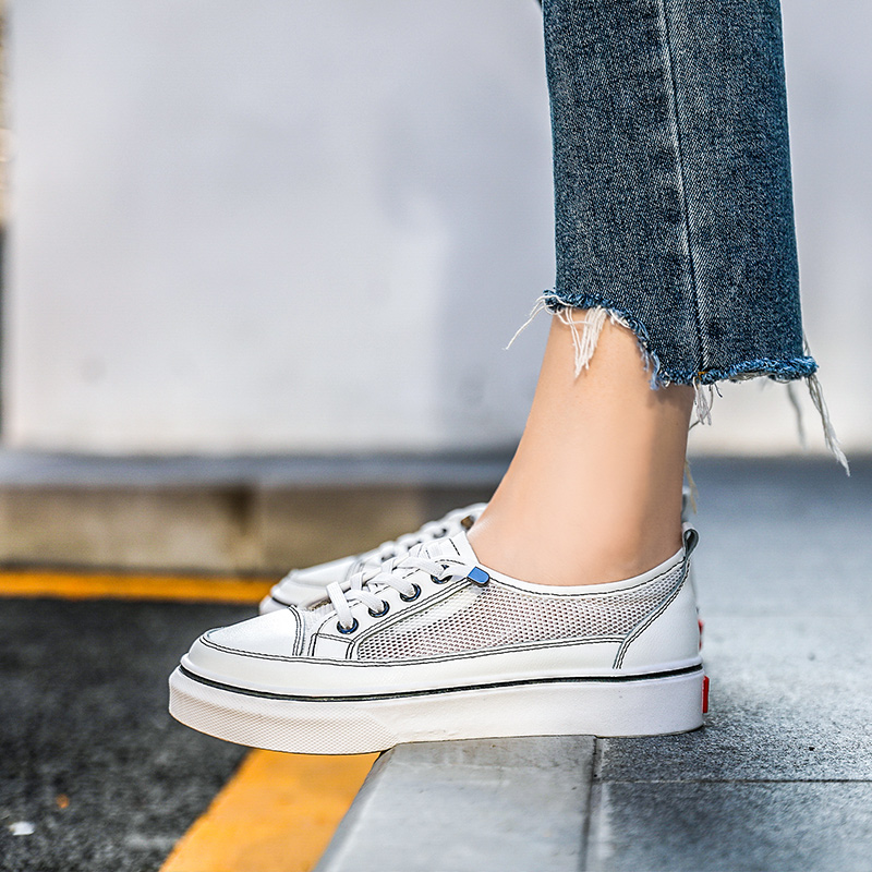 Comfortable Black White Women Lace up Casual Shoes Spring Autumn Female Breathable Flat Shoes 21818AHW2760 in Women 39 s Vulcanize Shoes from Shoes