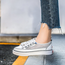 Comfortable Black/White Women Lace-up Casual Shoes Spring/Autumn Female Breathable Flat 21818AHW2760