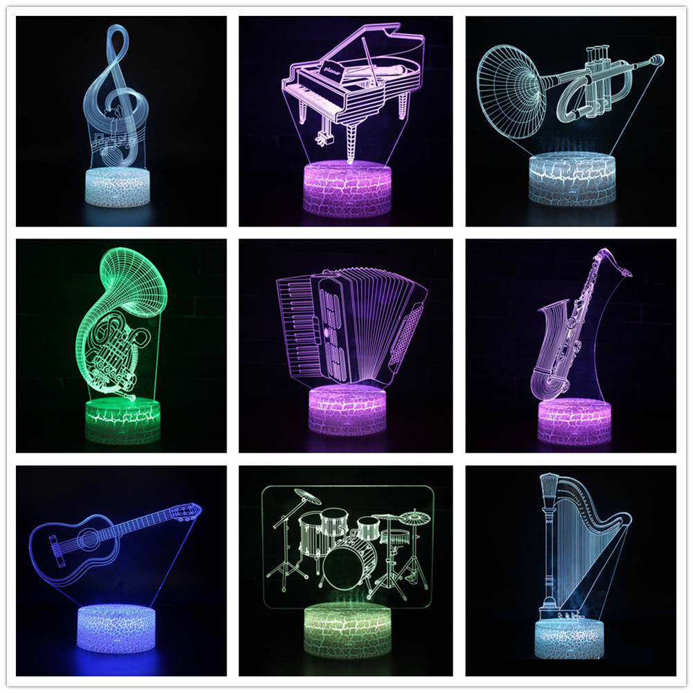 Remote Control Guitar Piano Saxophone Musical Note 3D Led Lamp 7 Color Change USB 3d Led Light For Baby Sleeping Nightlight