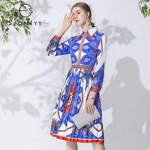 SEQINYY Blue Dress 2020 Spring Autumn New Fashion Design Vintage Flowers Printed Pleated Casual Elegant