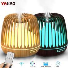 Yajiao 500 Ml Thơm Khuếch Tán Tinh Dầu Siêu Âm Thanh Máy Tạo Độ Ẩm Không Khí Hạt Gỗ 7 Đèn LED Đổi Màu Mát Phun Sương Dành Cho nhà