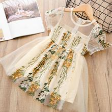 Kid Girl Tulle Princess Dress Embroidery Flower Short Sleeve Crew Neck Party Dress for 3-8Y Girl Casual Dress crew neck casual sweater dress