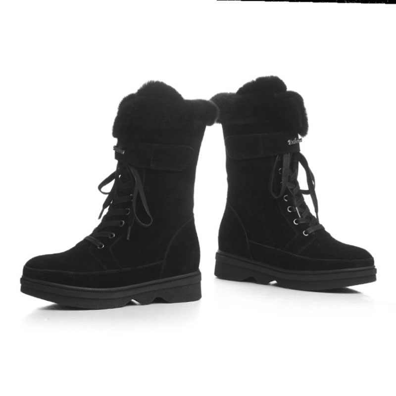 Winter Snowboots Vrouwen Black Lace Up Plus Fluwelen Warm Mid Laarzen Punk Rock Motocycle Laarzen Gothic Schoenen Cool Girl martin Laarzen