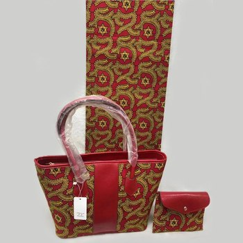 Red African Wax Printed Handbag And Purse With Its Matching 6 Yards African Wax Fabric 3 Pcs set  DFB-13