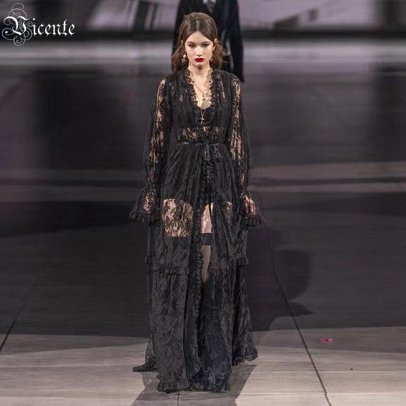 VC Women's Top Coat Celebrity Party Dress Belt Design Black Lace Long Coat
