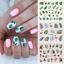 19 дизайнерские наклейки для ногтей зеленый лист Фламинго Цветы кактус водяные наклейки для ногтей художественные украшения обертывания хлопья слайдеры маникюр