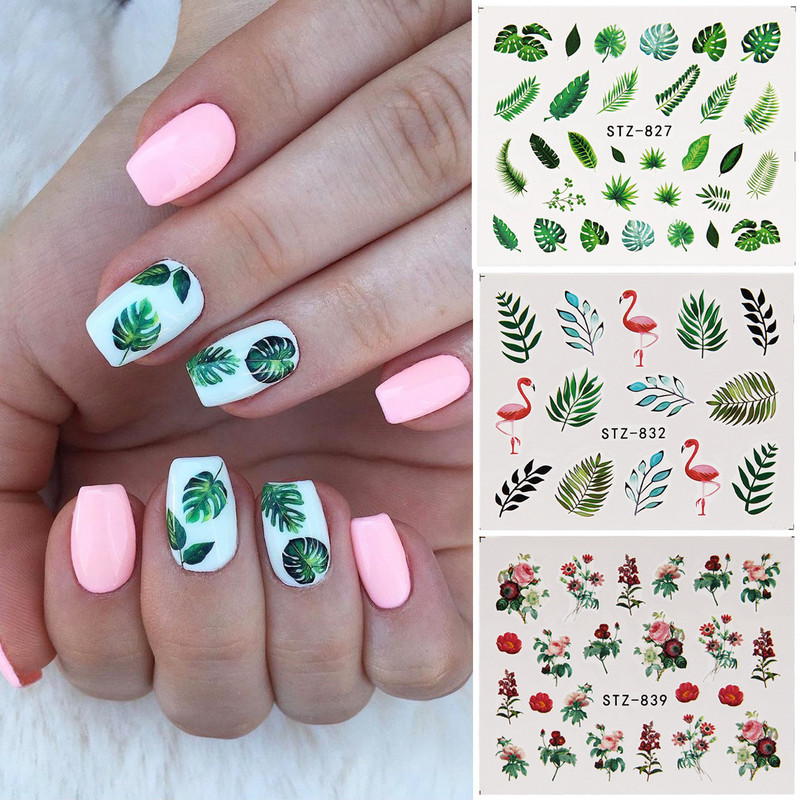 19 Designs Nail Stickers Green Leaf Flamingo Flowers Cactus Water Decals Nail Art Decorations Wraps Flakes Sliders Manicure