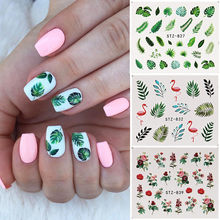 19 Designs Nail Stickers Green Leaf Flamingo Flowers Cactus Water Decals Nail Art Decorations Wraps Flakes Sliders Manicure(China)
