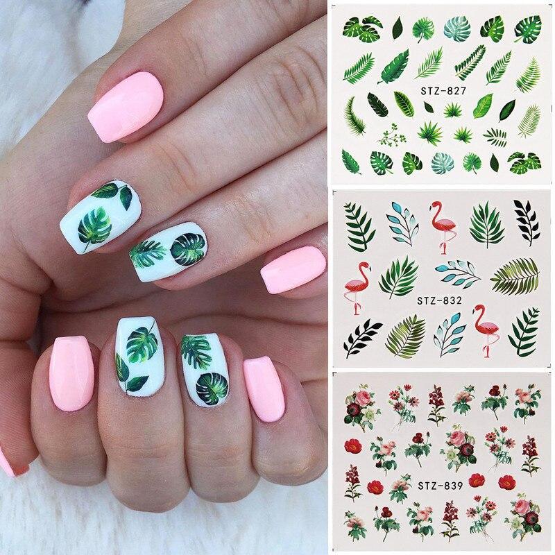 018 25 De Descuento19 Pegatinas Con Diseños Para Uñas Hoja Verde Flamencos Flores Cactus Pegatinas De Agua Para Uñas Arte Decoraciones Envuelve