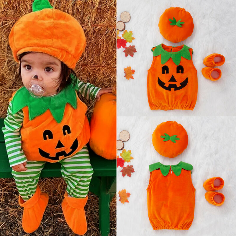 3PCS Halloween Costumes Toddler Baby Boys Girls Romper Jumpsuit Hat Shoes Pumpkin Cosplay Outfits Set 0-3T