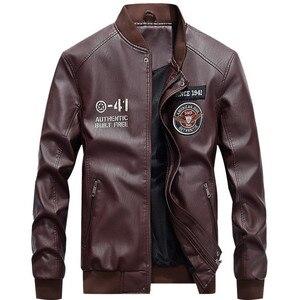 Image 5 - Blouson dhiver en cuir homme, coupe vent en molleton chaud homme vestes en cuir synthétique polyuréthane 2020, coupe vent
