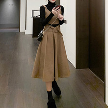Three Pieces High Waist Skirts Knitwear and Turtleneck Pullover Tops 3PCS Korean Elegant Office Ladies Skirt Suit Retro Clothing
