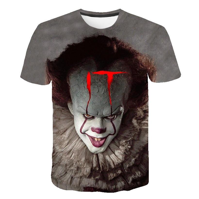 Horror Movie IT Clown 3D Printing T-shirt Men/ Women Summer IT Joker Casual T-shirt Harajuku Tops Hip-hop Shirt Streetwear