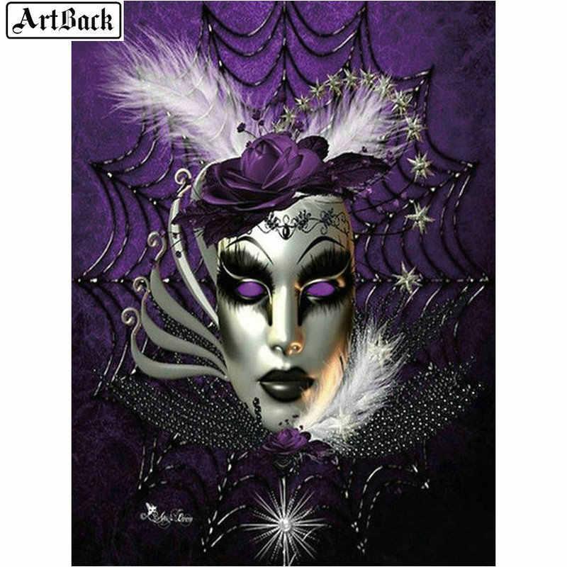 ARTBACK diy 5d diamante pintura máscara de mulher bonita paisagem rodada completa diamante mosaico 3d vara diamante bordado
