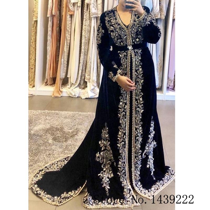 Sofuge Black Moroccan Kaftan Evening Dresses Long Velvet Appliques Beads Saudi Arabic Muslim Special Occasion Plus Size