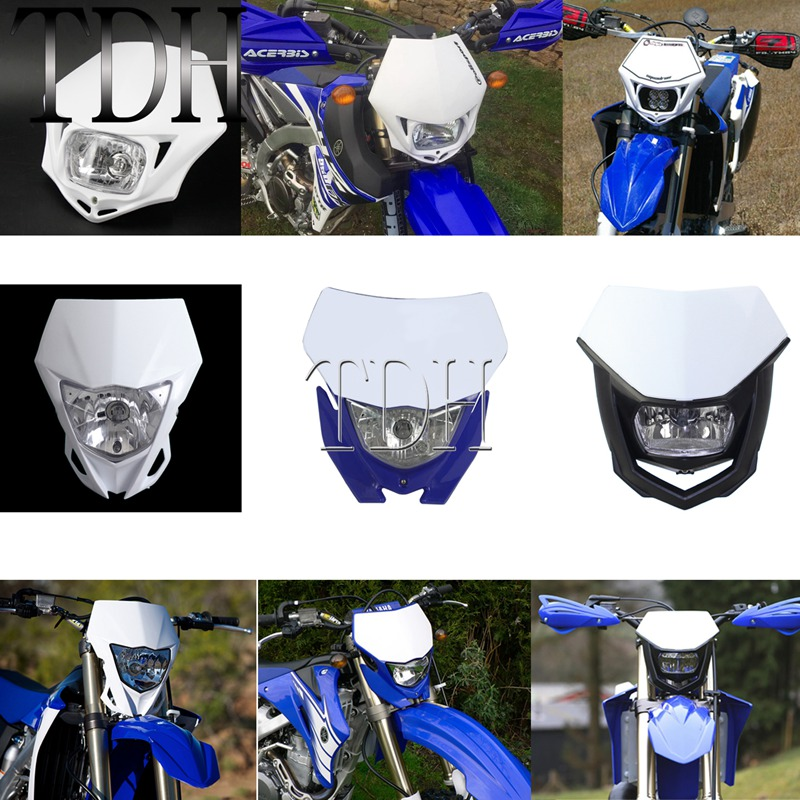 White Blue Enduro MX Dual Sport Head Light Universal Head Lamp For Yamaha YZ85 YZ125 YZ250 YZ450 WR250 WR450 F FX TTR TT-R 230